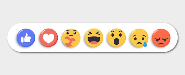 Collection of emoji reactions for social media