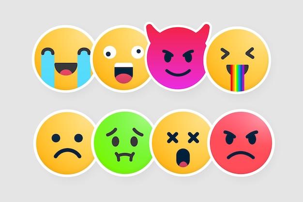 컬렉션 이모티콘 스티커 벡터 디자인입니다. 행복하고, 미쳤고, 사악하고, 웃기고, 슬프고, 구토하고, 놀라고, 화난 감정 아이콘이 설정되었습니다. 이모티콘 표지판.