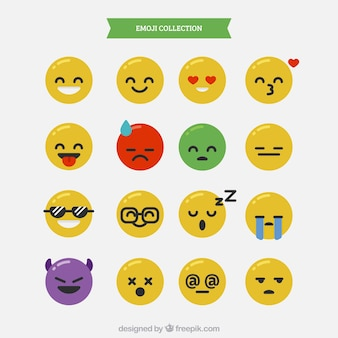 Collection of emojis with different expressions