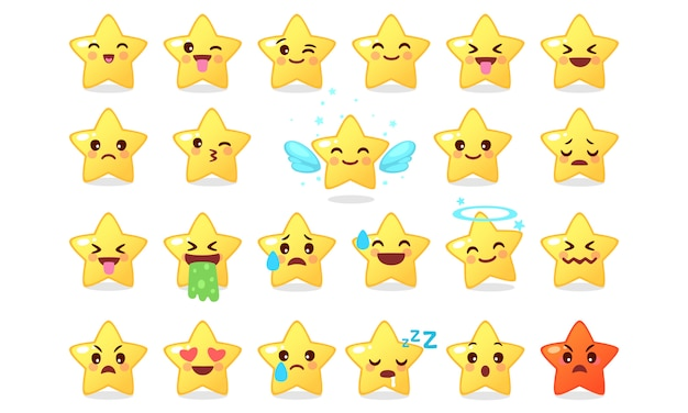 Collection of emoticon icon of cute star cartoon on white