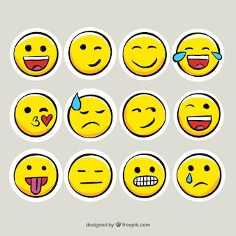 Collezione di adesivi emoticon in stile disegnato a mano