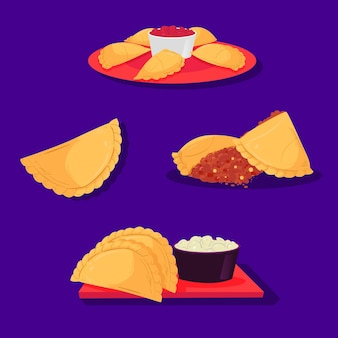 Collection of empanada snack and sauce