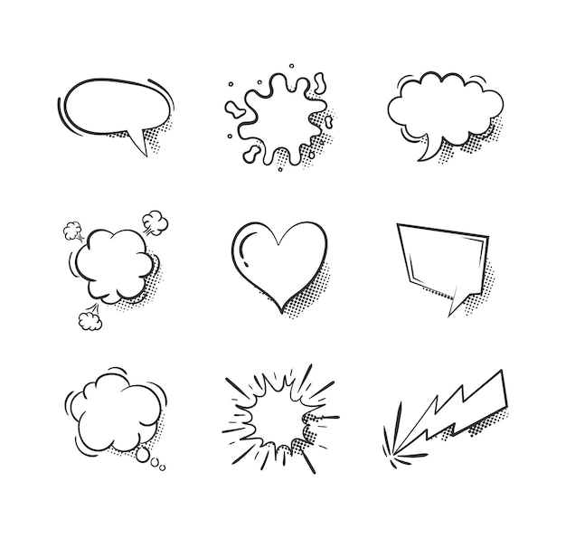 Collection of empty comic speech bubbles on white background.