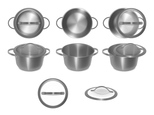 Collection of empty metal pots with glass lids in different angles, side, top, separately. set of steel pots. realistic style. vector illustration.