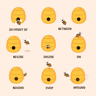 Collection of english prepositions with cute bee