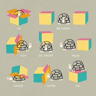 Collection of english prepositions with cute turtle
