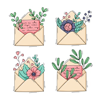 Collection of envelopes with flowers