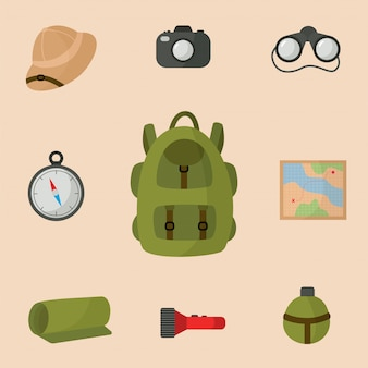 Collection of equipment for safari trip. tourist backpack.