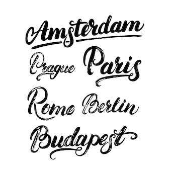 Collection of european capitals lettering