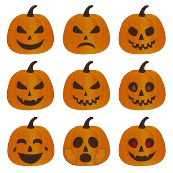 Collection of evil pumpkins for halloween