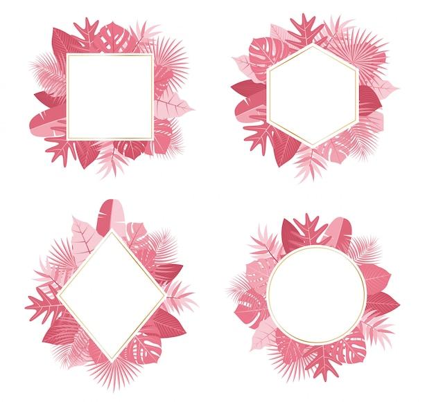 Collection of exotic botanical design tropical pink leaves frame set