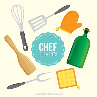 Collection of fantastic chef items in flat design