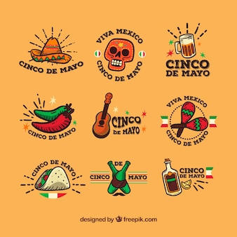 Collection of fantastic labels in flat design for cinco de mayo