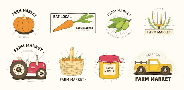 Collection of farm or agricultural market logo or labels with vegetables, farmer's machines, tools and equipment isolated
