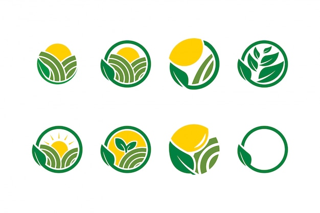 Collection of farm agriculture logo icon template