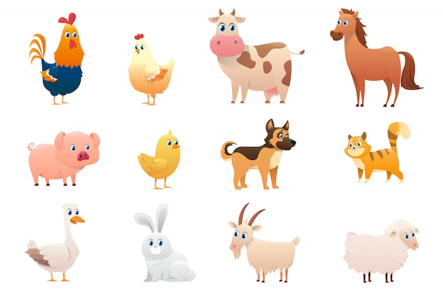 Collection of farm animals on a white