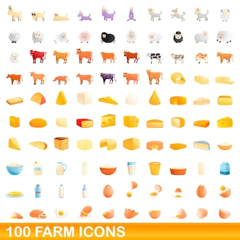Collection of farm icons isolated on white