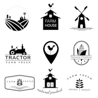 Raccolta di illustrazioni logo agricoltura