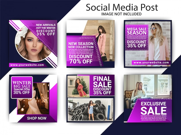 Collection of fashion banner template set