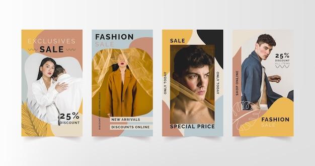 Raccolta di storie di vendita di moda con foto