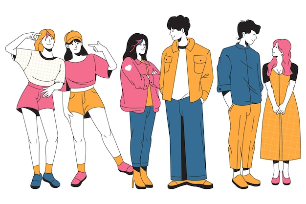 Collection of fashion young koreans
