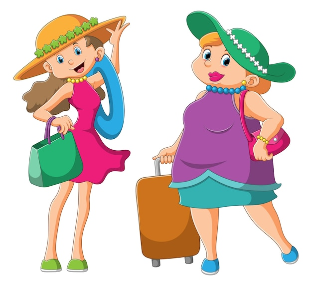 The collection fashionable woman is using the beachwear for traveling