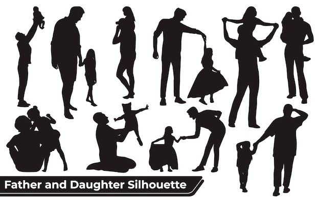 Collection of father and daughter silhouettes in different poses set