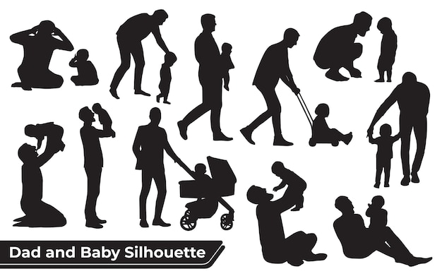 Collection of father and son or dad and baby silhouettes in different poses set