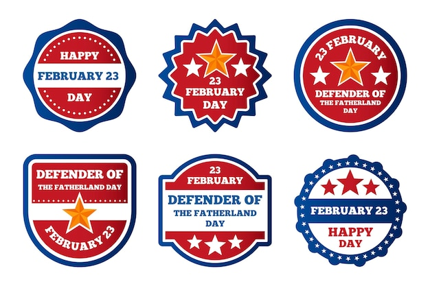 Collection of fatherland defender day labels