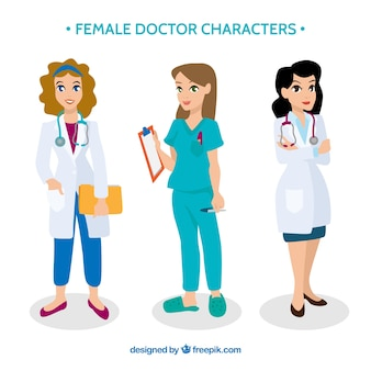 Collection of female doctor cartoon characters