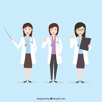 Collection of female doctor in different situation