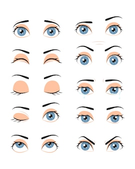 Collection of female eyes with different emotions.