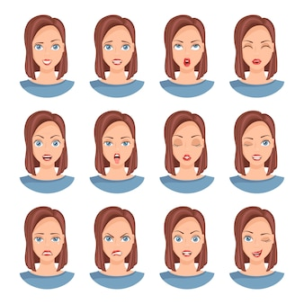 A collection of female faces with different emotions