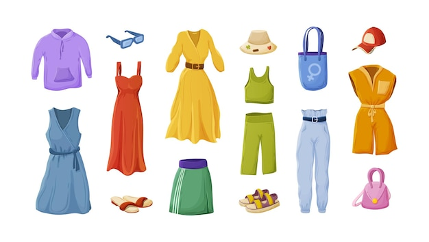 Collection of female fashion summer apparel