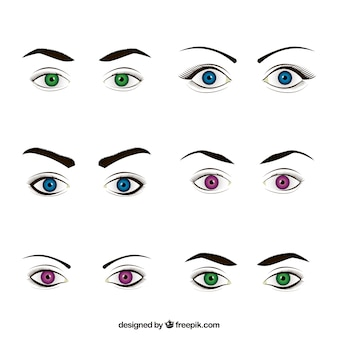Collection of female looks with colored eyes