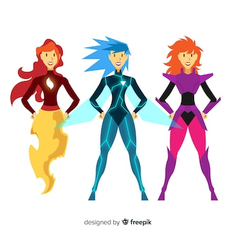 Collection of female superhero characters in cartoon style