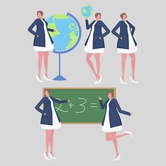 Collection of female teacher activities in the school