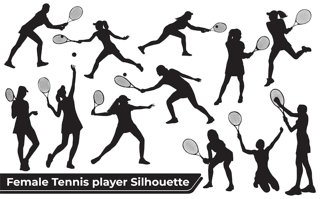 Collection of female tennis player silhouettes in different poses