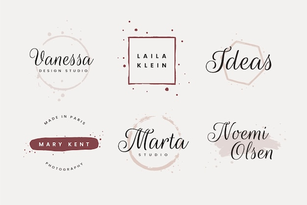 Collection of feminine logo design with brush strokes