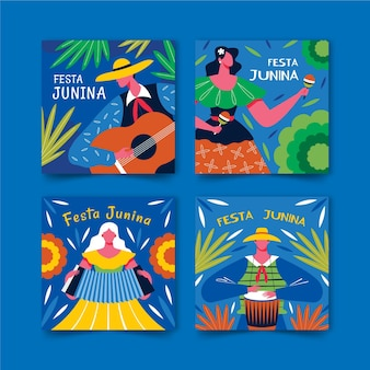 Collezione di carte junina festa
