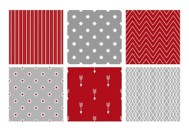 Collection of festive geometrical christmas patterns. vector illustration