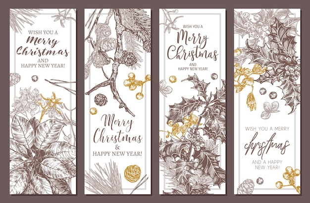 Collection of festive merry christmas and happy new year vertical floral banners. sketch hand drawn