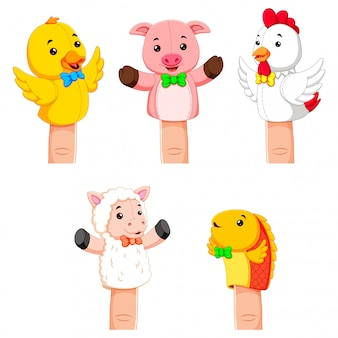 Collection of fierce animal hand puppets