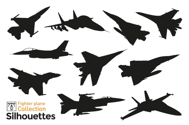 Collection of fighter plane silhouettes