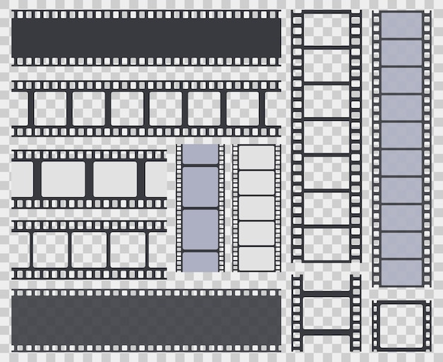 Collection of film strip isolated on transparent background