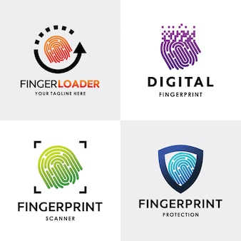 Collection of finger print logo set design template