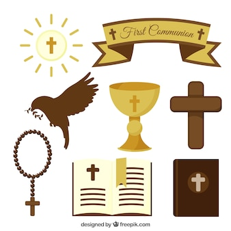 Collection of first communion objects in flat design