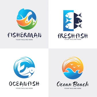 Collection of fish logo set design template