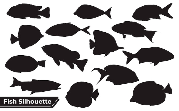 Collection of fish silhouettes