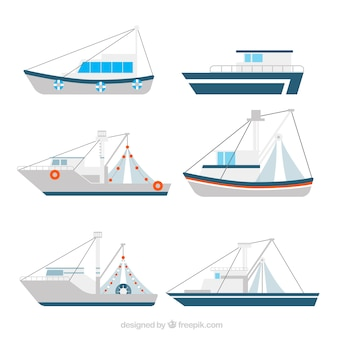 Collection of fishing boats in flat design